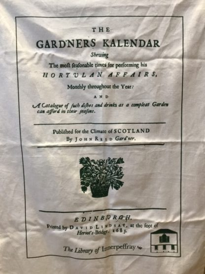 tea towel with print of Scottish gardening book page