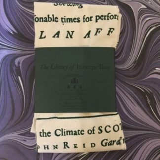 A tea towel with images and text from the Scots Gard'ner book