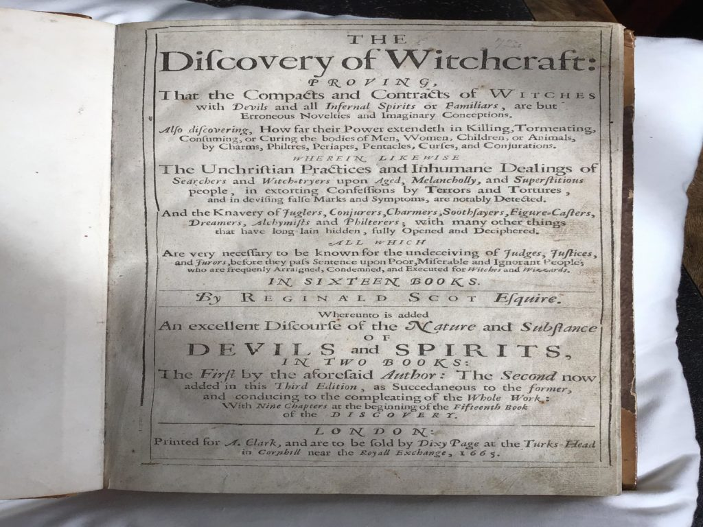 title page of Scott's Discovery of Witchcraft 1665